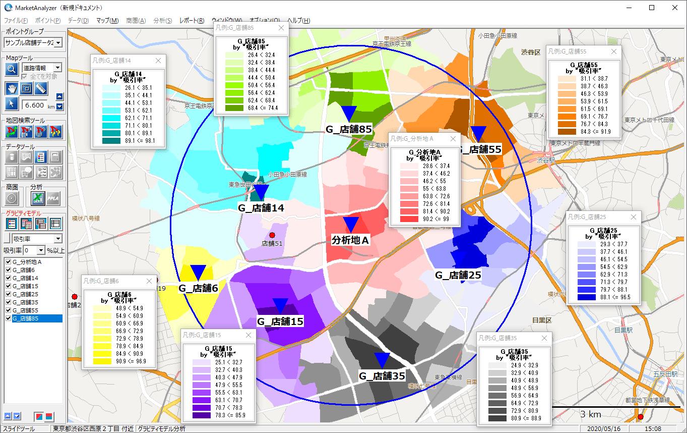 グラビティモデル分析機能