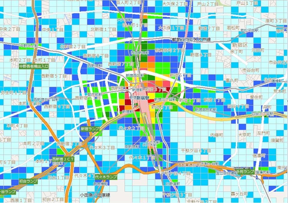 新宿駅周辺の平日14時台の流動人口