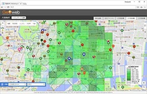 ターゲットの分布を地図上に可視化