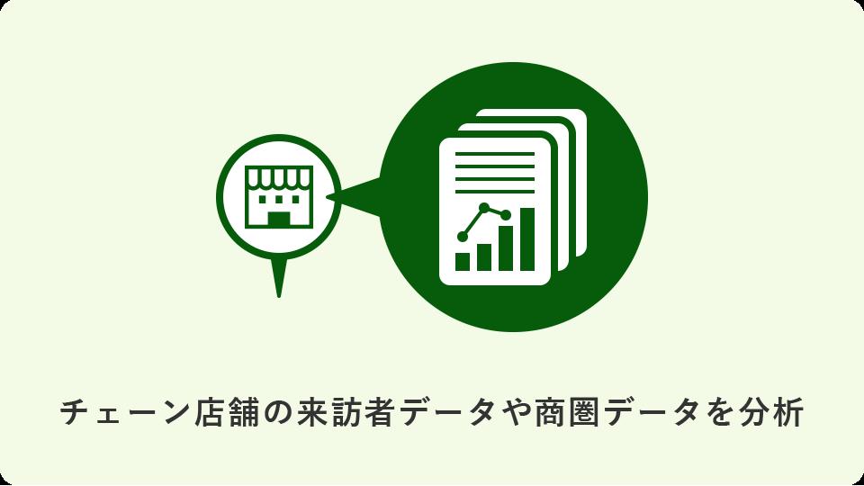 チェーン店舗の来訪者データや商圏データを分析